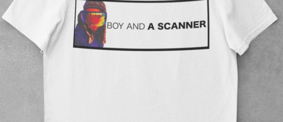 BOY AND A SCANNER WHITE SHIRT 1
